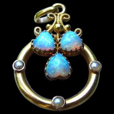 *Cosmological Triad* Victorian Opal and Pearl Clover Charm in 18k Gold