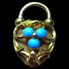 *Vault Dweller* Exquisite Small-Scale Working Turquoise Padlock Charm in 18k Gold