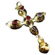 *The Spirit* Rare French Flat-Cut St. Espirit Garnet Pendant in 15k Gold c.1810