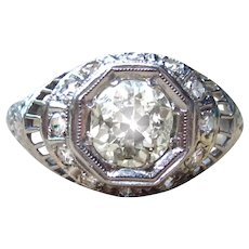 *Lord of Stars* Art Deco Diamond and Platinum Engagement Ring 1.14cttw