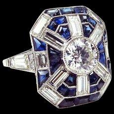 Singular Art Deco Platinum Diamond and Sapphire Ring With 1.08ct Central Diamond size 7.75