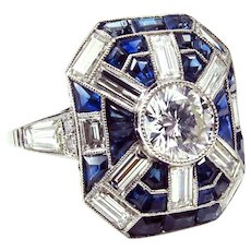 Singular Art Deco Platinum Diamond and Sapphire Ring With 1.08ct Central Diamond size 7.75