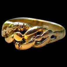 *Treasure Cove Coils* Antique 18k Gold Edwardian English Braided Ring - Size 8.0