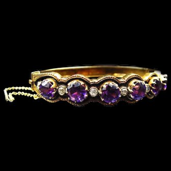 *Queen of the Night* Exceptional Amethyst and Diamond Bracelet with Black Enamel and 15k Yellow Gold