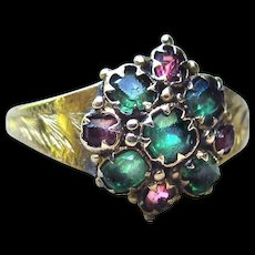 *Lover's Boutique* Antique Victorian Emerald and Ruby Paste Ring in 12k Gold c.1872 Size 5.0