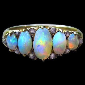 *The Rainbow Bridge* Five-Opal Antique Victorian Ring with Diamonds in 18k Gold