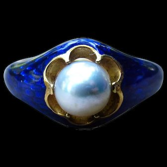 *The Offering* Antique Victorian Pearl & Blue Enamel Ring in Gold c.1870