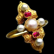 *The Lineage* Antique French Orientalist Pearl & Spinel 18k Gold Ring c.1860