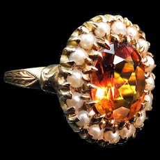*Citrus Delight* Citrine and Pearl Ring in 10k Gold Size 8.75