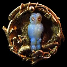 Outstanding Aesthetic Movement 18K Brooch w/ Carved Opal Owl circa 1870