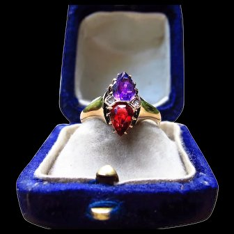 *Voidflame* Amethyst and Garnet Ring in 14k Gold Size 7.0-7.25