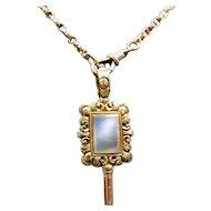 *Sealbreaker* Antique Late Georgian White Agate 15k Gold Fobwatch Key Pendant