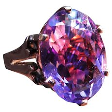 *Enchantress's Offering* Oval-Cut Amethyst and 15k Gold Ring Vintage c.1910-30