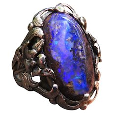 *The Power Cosmic* Boulder Opal 14k Gold Antique Ring c.1890-1910 Arts and Crafts