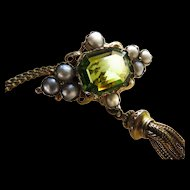 *Leo's Offering* Peridot and Pearl 18k Gold Pendant with Tassel
