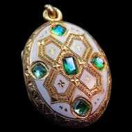 *Emperor's Graces* Napolean III Emerald and White Enamel Locket Pendant in 18k Gold