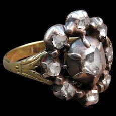 *Crystalline Flower* Georgian Rose-Cut Diamond and 20k Gold Silver Ring