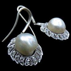 *Elven Gift* Vintage Baroque Pearl White Gold Diamond Earrings c.1950
