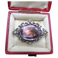 *Plumdrop* Amethyst and Rosecut Diamond 18k Gold French Brooch
