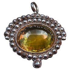 *Citrine Queen* Citrine Cut Steel and Silver Pendant