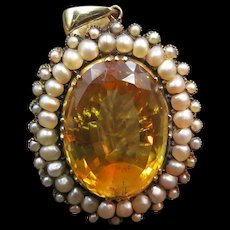 *Golden Drop* Citrine and Pearl 14k Gold Pendant