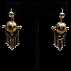 *Empress Prime* Etruscan Revival 15k Gold Articulated Earring