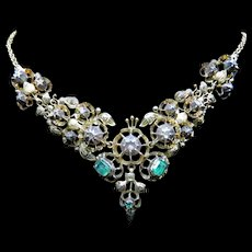 *The Chimera* Diamond and Emerald 18k Gold and Silver Ornamental Necklace