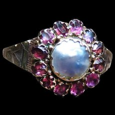 *The Emboldened* Garnet and Pearl 9k Gold Ring c.1860