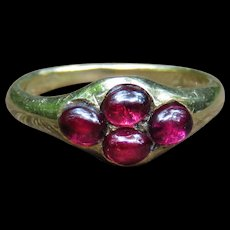 *The Clover* Georgian Cabachon Garnet Quatrefoil 14k Gold Ring