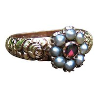 *Flowerette* Georgian Garnet and Pearl Flower Ring in 14k Gold
