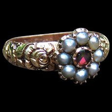 *Flowerette* Georgian Garnet and Pearl Flower Ring in 14k Gold