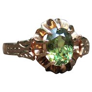 *Pan's Prize* Oval Brilliant Demantoid Russian Ring in 15k Rose Gold