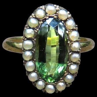 *Fae's Treasure* Emerald Paste Pearl Ring in 14k Gold