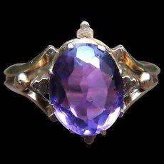 *Mystic's Eye* Oval Amethyst Victorian Ring in 14k Gold