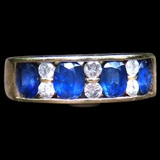 *Blue Starlight* Sapphire and Diamond Ring in 14k Gold