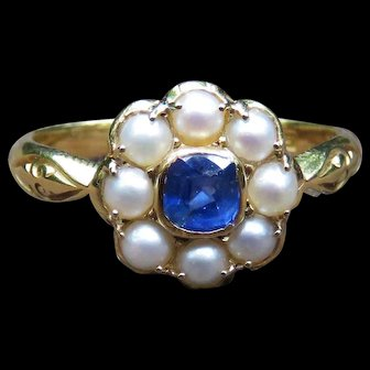 *Cerulean Drop* Sapphire and Pearl 18k Gold Ring