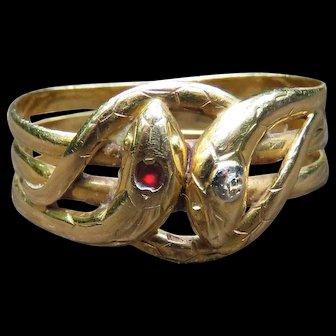 *Snake Eyes* Garnet and Diamond 18k Gold Two-Head Snake Ring
