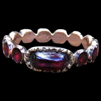 *Vampiric Kiss* Flat-Cut and Cabachon Garnet 14k Gold Georgian Ring
