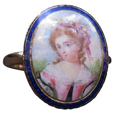 *Elegant Gaze* Painted Portrait Blue Enamel French 18k Gold Ring