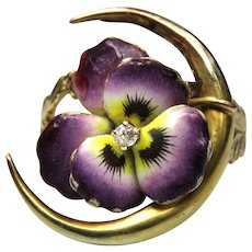*Budding Affection* Enamel Flower Diamond 14k Gold Ring