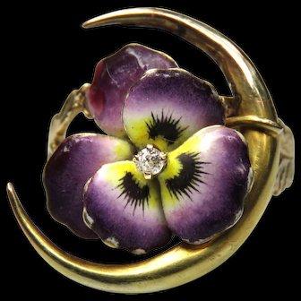 *Budding Affection* Enamel Flower Diamond 14k Gold Ring