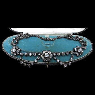 *The Constellation* French c.1840 Sterling Silver 18k Gold Diamond Paste Reverie Necklace