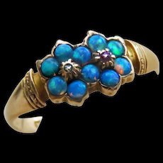 *Sister Galaxies* Opal Double Flower 15k English Gold Ring c.1870