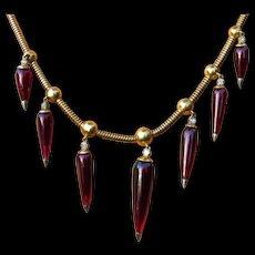 *Blood Drops* Garnet and 14k Gold Necklace Etruscan Revival c.1870