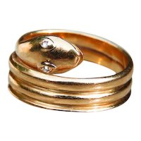 *Diamond Eyes* 18k Gold Snake Band