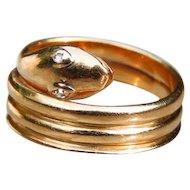 *Diamond Eyes* 18k Gold Snake Band