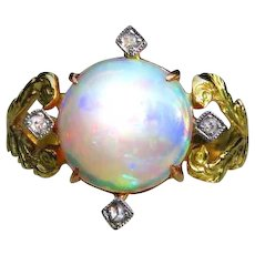 *The Compass* Cabochon Opal and Diamond Conversion 18k Gold Ring