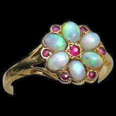 *Persephone* Flower Petal Opal and Spinel 18k Gold Ring
