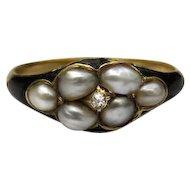 *Budding Star* Diamond and Pearl Black Enamel 18k Gold Ring