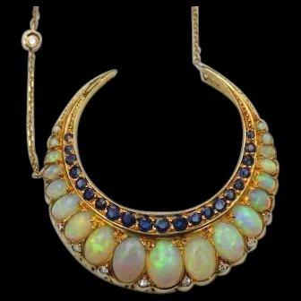 *Dawnbreak* Opal Sapphire and Diamond 18k Gold Crescent Pendant